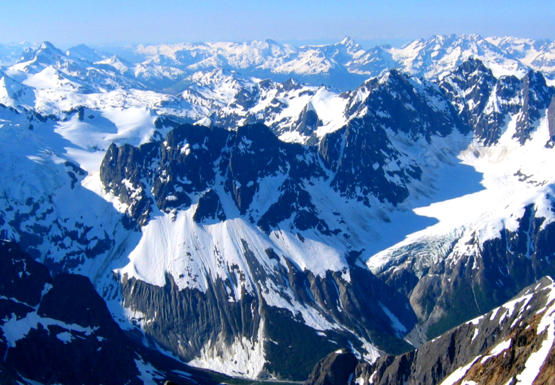 360 degrees of snow-capped peaks and glaciers