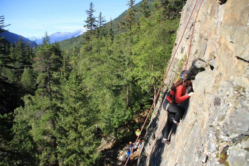 Enjoy fun rock climbing with fantastic views of the Skagway Valley