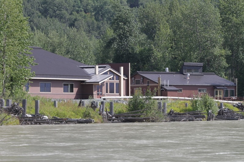 The Jilkaat Kwaan Heritage Center on the shore of the Chilkat River