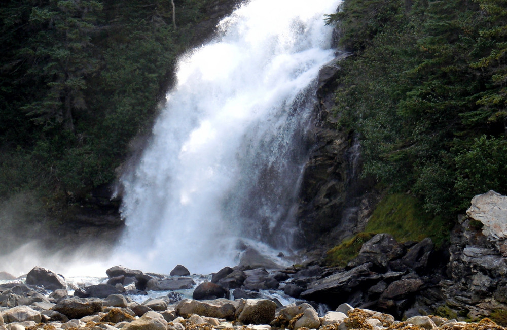 We'll stop at Sawmill Falls as we explore the fjord