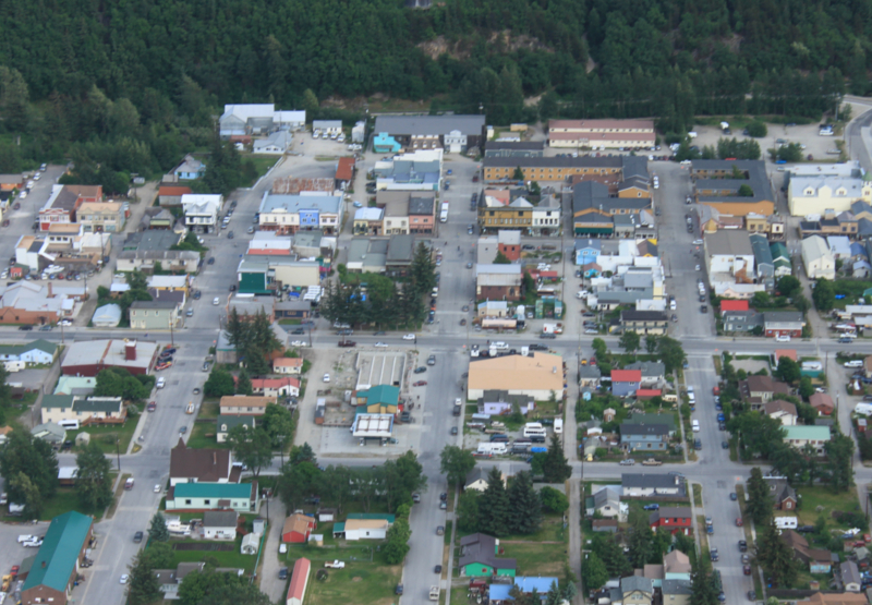 Aerial view looking over the town of Skagway