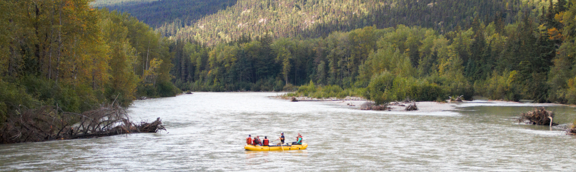 Rafting on the Taiya River alongside the historic Chilkoot Trail