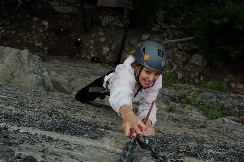 Rock climbing on the granite cliffs of White Pass