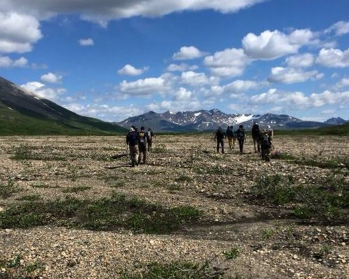 Setting out across glacially fed streams and tundra