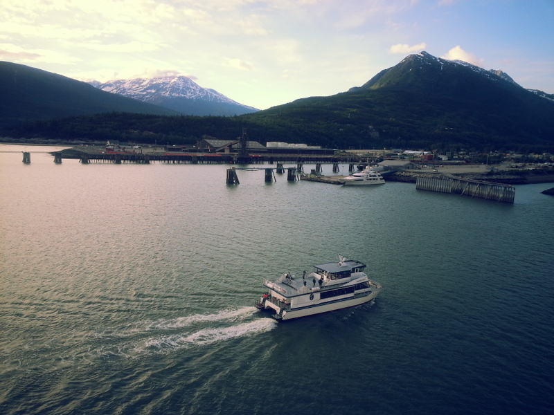 Ferry pulling back into Skagway after exploring Haines