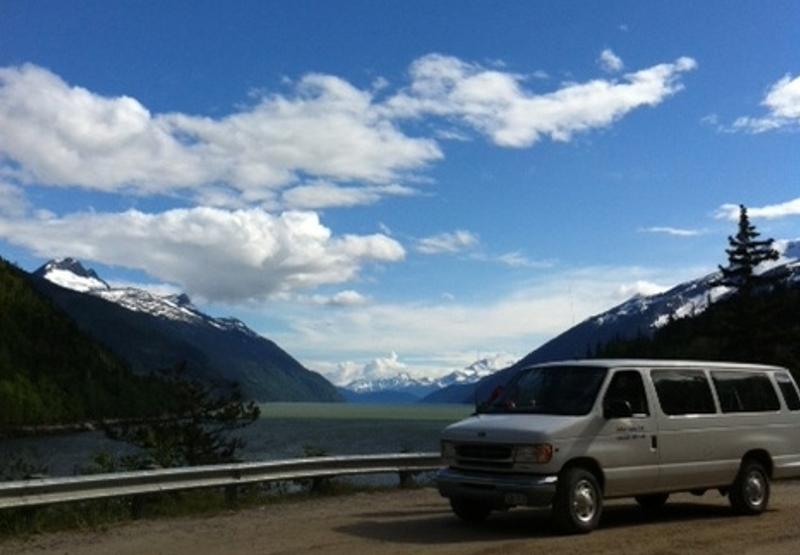 Driving along the Taiya Inlet near Dyea